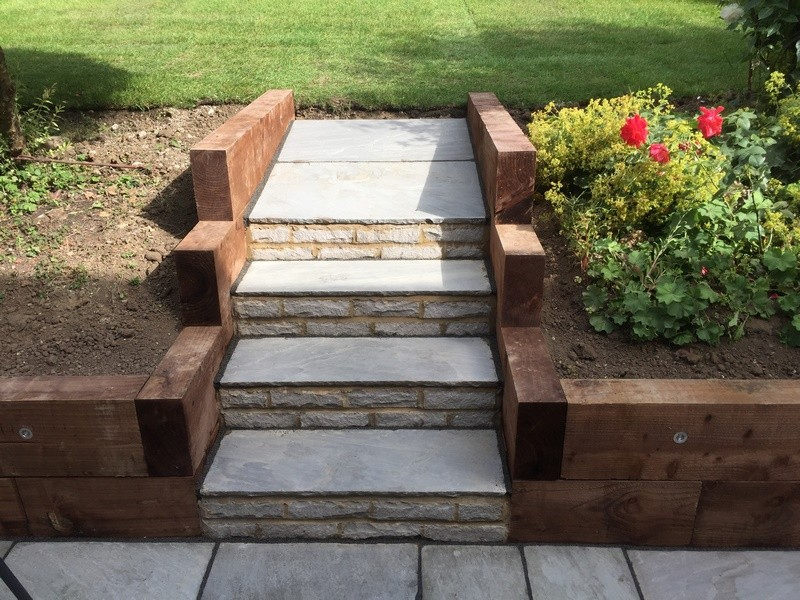 Patio with Sleeper Edging & Steps Leading to Garden ... on Backyard Patio Steps id=29768